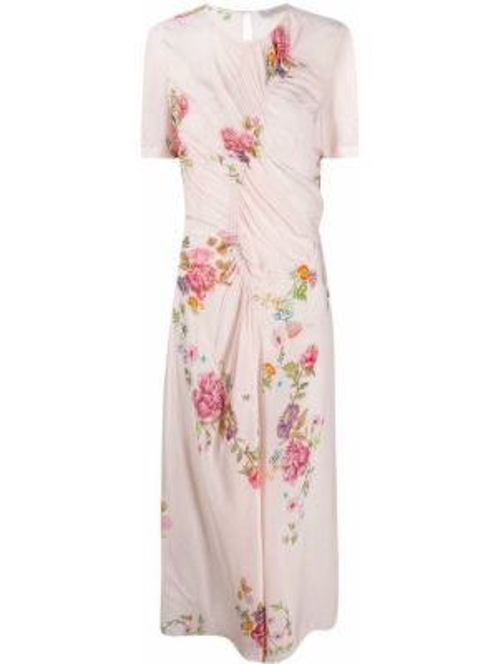Асимметричное приталенное платье мини с оборками на пуговицах Preen Line