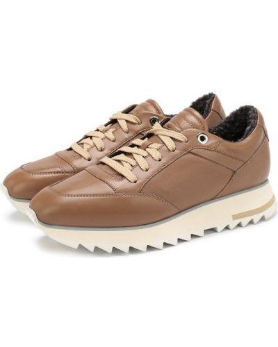 Кожаные кроссовки с мехом Santoni