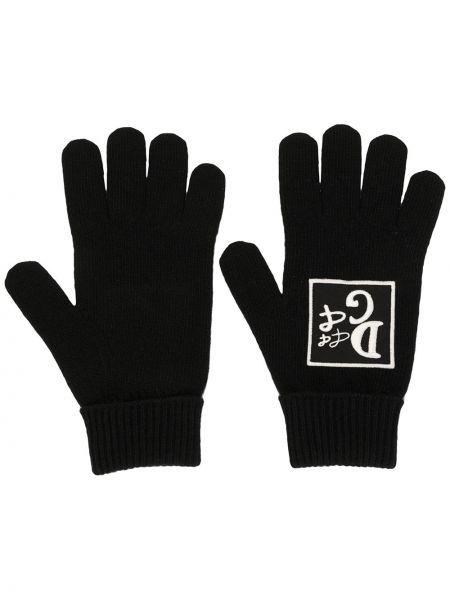 Bawełna bawełna czarny rękawiczki z haftem Dolce And Gabbana