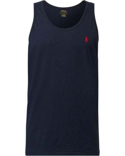 Prążkowany niebieski top bawełniany Polo Ralph Lauren