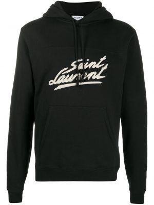 Czarna bluza długa z kapturem z długimi rękawami Saint Laurent