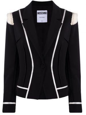 Черный удлиненный пиджак на пуговицах с подкладкой Moschino