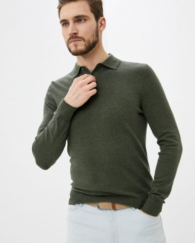 Зеленое поло с длинными рукавами Burton Menswear London