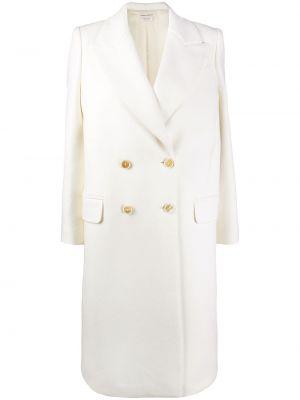 Белое шерстяное пальто на пуговицах Alexander Mcqueen