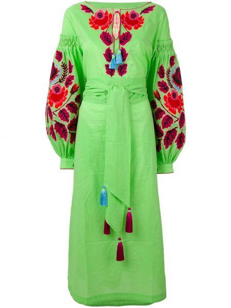 Платье с вышивкой - зеленое Yuliya Magdych