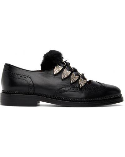 Ażurowy czarny buty brogsy z prawdziwej skóry zasznurować Toga Pulla