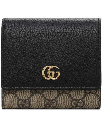 Czarny portfel z gniazdem metal z kieszeniami Gucci