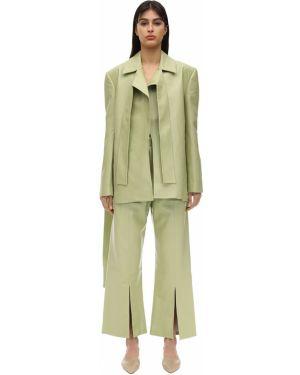 Зеленый кожаный пиджак с воротником Matériel