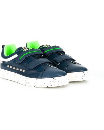 Золотистые кожаные темно-синие кроссовки Cesare Paciotti Kids