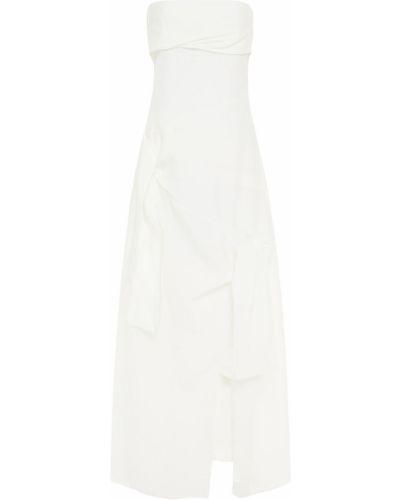 Льняное бежевое платье макси с подкладкой Rejina Pyo