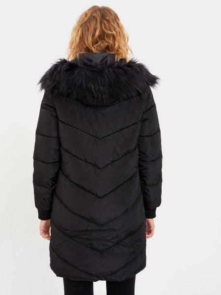 Черное пальто с капюшоном из искусственного меха Defacto