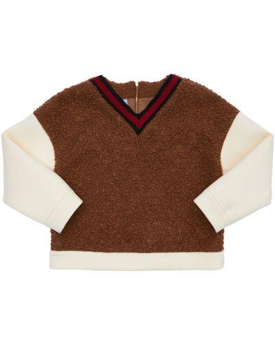 Коричневый свитер с мехом Mi.mi.sol.