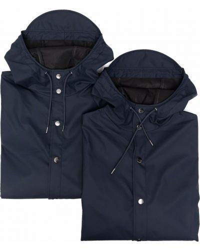 Niebieski płaszcz przeciwdeszczowy z kapturem z długimi rękawami Rains