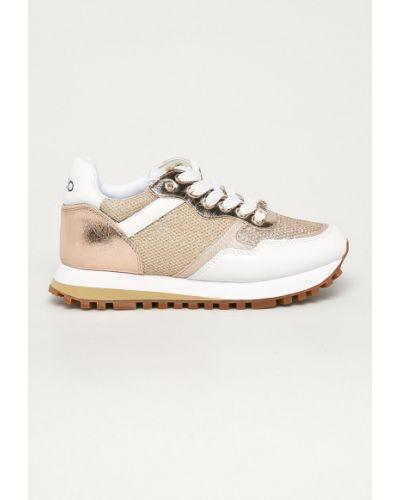 Beżowe sneakersy na platformie skorzane Liu Jo