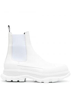 Массивные кожаные белые ботинки челси Alexander Mcqueen