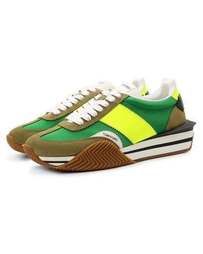 Кожаные кроссовки - зеленые Tom Ford