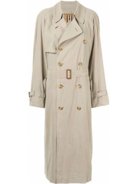 Шерстяное пальто с поясом с воротником двубортное Burberry Pre-owned