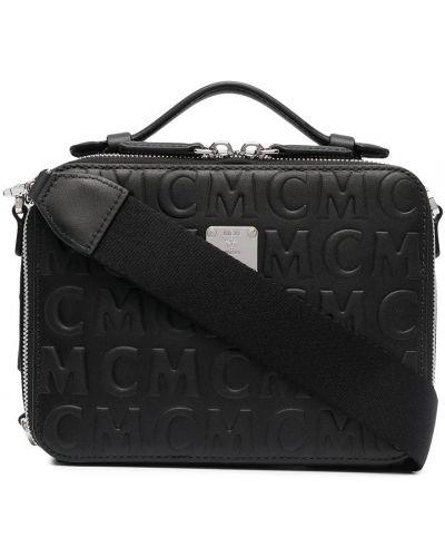 Черная кожаная сумка на плечо на молнии Mcm