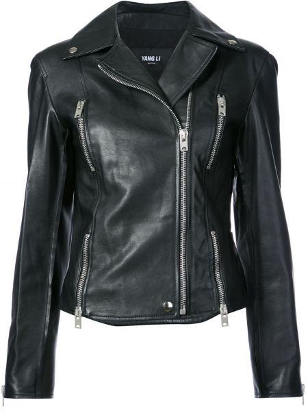 Черная кожаная куртка байкерская из вискозы Yang Li