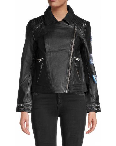 Черная кожаная длинная куртка с подкладкой Zadig & Voltaire