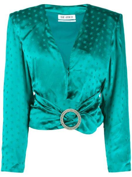 Zielona bluzka z długimi rękawami z wiskozy Attico