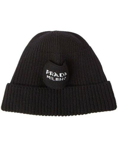Czarna czapka prążkowana Prada