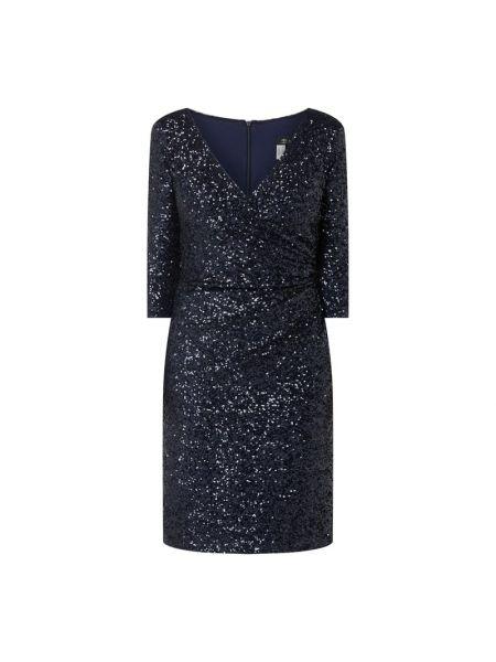Niebieska sukienka koktajlowa z cekinami Paradi