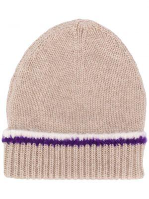 Тонкая кашемировая шапка бини в рубчик с декоративной отделкой Barrie