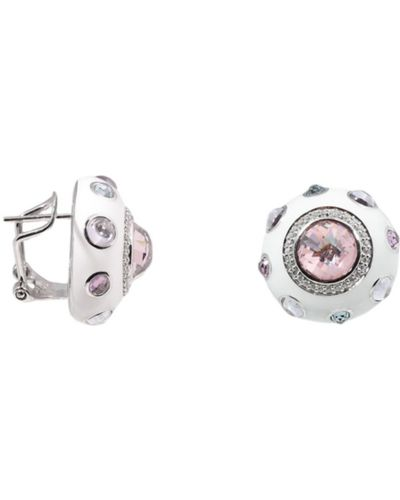 Серебряные серьги с кварцем с фианитом Jewelry Box