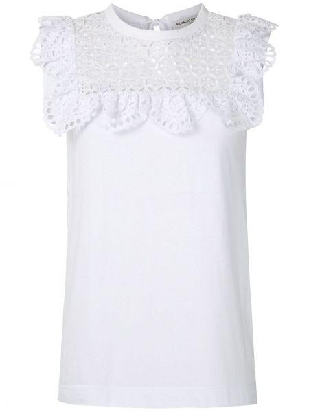 Белая хлопковая прямая футболка с вышивкой Reinaldo Lourenço