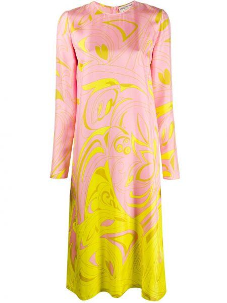 Розовое шелковое платье миди свободного кроя Emilio Pucci