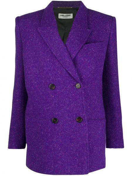 Приталенный малиновый пиджак двубортный Saint Laurent