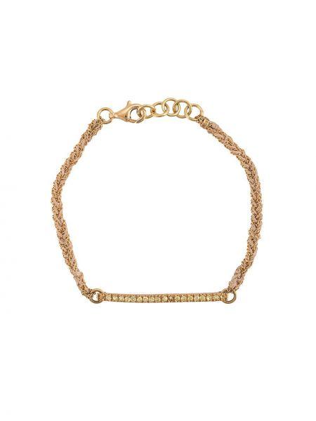 Золотистый желтый золотой браслет круглый с декоративной отделкой Carolina Bucci