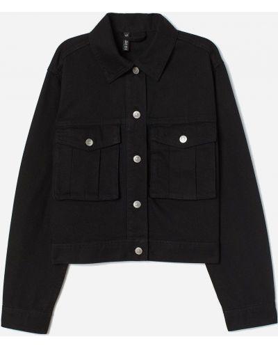 Джинсовая куртка на пуговицах - черная H&m