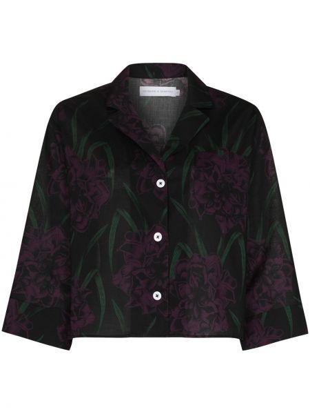 Ватная хлопковая черная рубашка Desmond & Dempsey