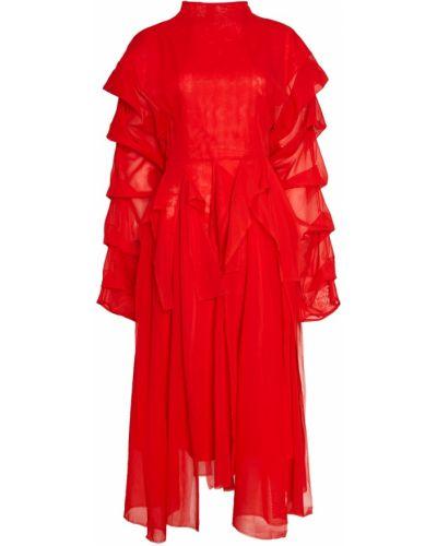 Приталенное с рукавами красное платье миди A.w.a.k.e.