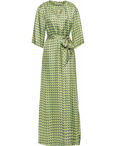Шелковое синее платье макси с поясом Diane Von Furstenberg