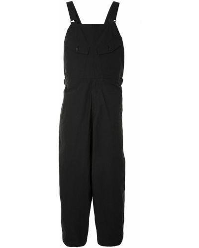 Хлопковый черный брючный комбинезон на бретелях Yohji Yamamoto