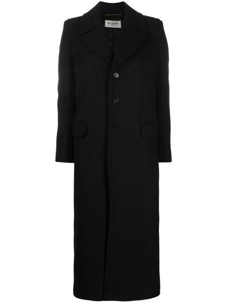 Однобортное шерстяное черное длинное пальто Saint Laurent