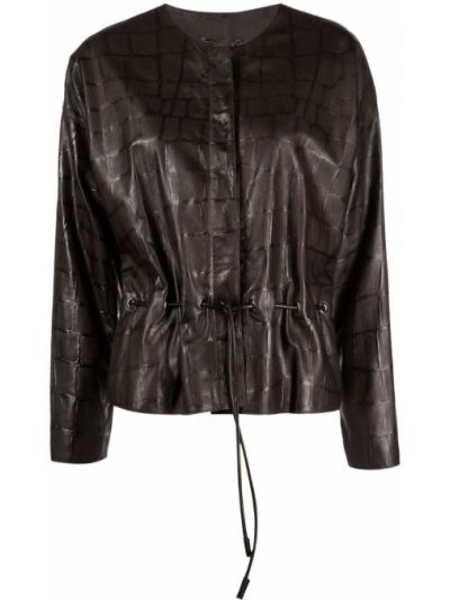 Коричневая куртка из полиэстера Giorgio Armani