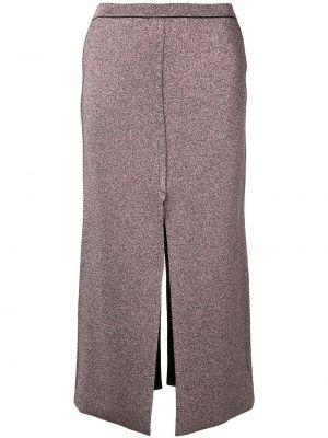 Розовая с завышенной талией юбка миди с разрезом в рубчик L`edition