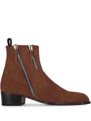 Brązowy skórzany buty obcasy na pięcie Giuseppe Zanotti