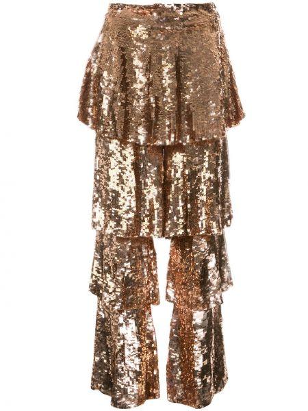 Złote spodnie z wysokim stanem Osman