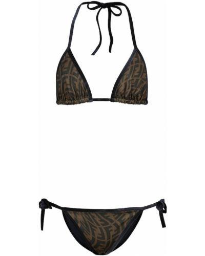 Czarny bikini z printem Fendi