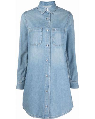 Синее платье макси с воротником Calvin Klein Jeans
