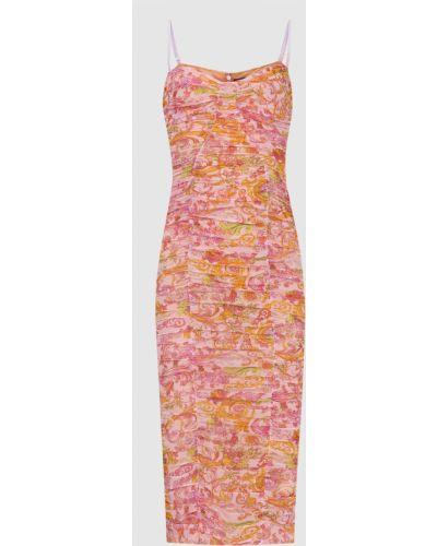 Розовое платье миди с драпировкой Versace Jeans Couture