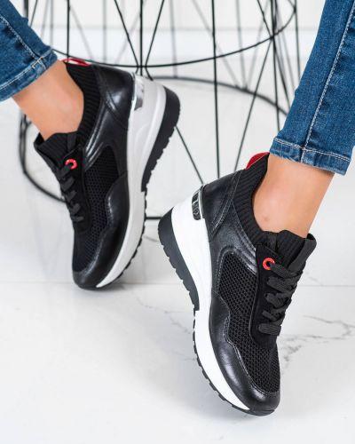 Czarne sneakersy skorzane Shelovet