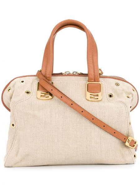 Skórzana torebka z klamrą z uchwytem Fendi Pre-owned
