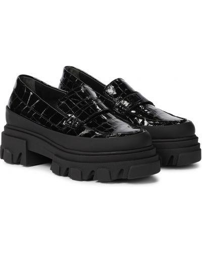 Czarne loafers skorzane na platformie Ganni