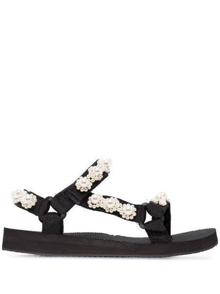 Czarne sandały na rzepy perły Arizona Love